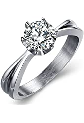 Xiangling Stainless Steel White Cubic Zirconia Love Promise Cz Ring Engagement Wedding Eternity Bands