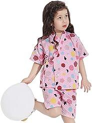 Amooy Dizi Kids Jinbei Boys Japanese Kimono Shijira Stripe Baby Girls Short Sleeve Clothes