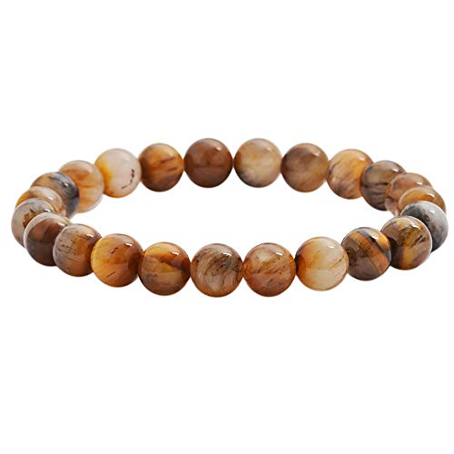 - Edforce Stainless Steel Men Women 's 8mm Natural Stone Brown Cat Eye Beads Elastic Yoga Bracelet Bangle (Brown Cat Eye)