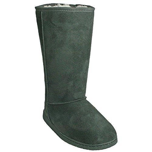 [DAWGS Womens 13 Inch Microfiber Faux Shearling Vegan Boots (Grey, Size 8)] (Microfiber Boots)
