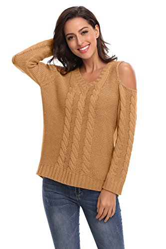 Thick Camel (SHEKINI Women's Cold Shoulder Long Sleeve V Neck Cable Knit Thick Baggy Casual Pullovers Sweaters (Camel, Small/(US 4-6)))