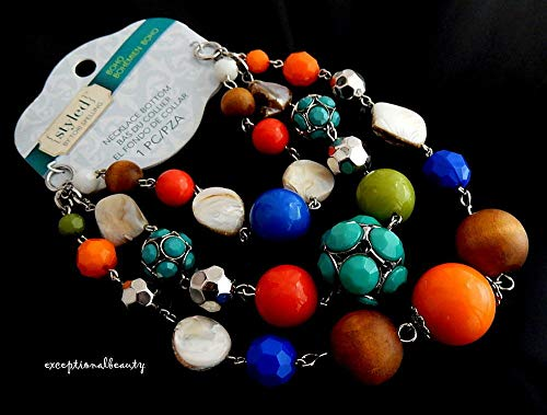 (Necklace Bottom Silver 3 Strand Multi Layer Wood MOP Beads Tori Spelling Boho)