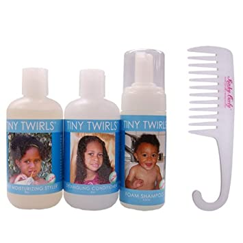 Kinky-Curly Tiny Twirls Combo-Set w Detangling Comb Moisturizing Styler 8oz , Detangling Conditioner 8oz , and Foam Shampoo 4.5oz