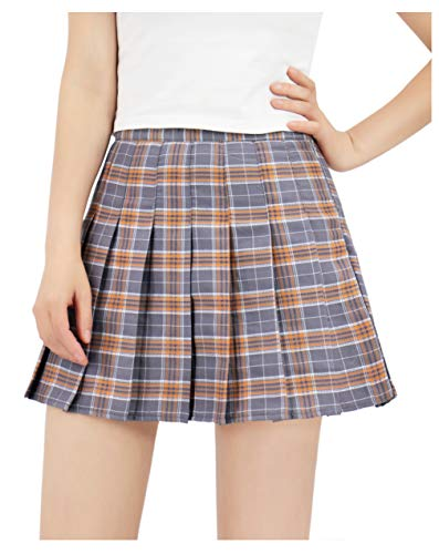 DAZCOS US Size Plaid Skirt High Waist Japan School Girl Uniform Skirts (Women XL, Gray)