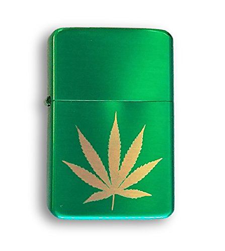 Laser-Engraved-Pot-Weed-Marijuana-Leaf-Vector-KGM-Thunderbird-Vintage-Lighter-Gift-Custom-Metallic-Green-Finish
