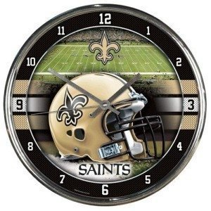 (New Orleans Saints Round Chrome Wall Clock by Hall of Fame Memorabilia)