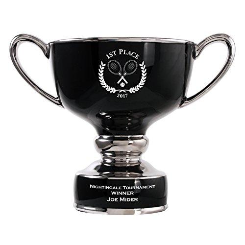 Polished Glazed Ceramic Timpani Trophy w/ Custom Engraving Options - Golf, Soccer, Tennis, Baseball, Volleyball, Disc Golf, Basketball, Football, Hockey, Softball (Black, Large 10
