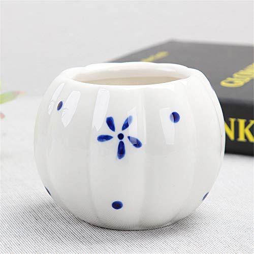 (Azure Hand-Painted Pumpkin Flower Girl Feeling Series Geometric Ceramic, Ceramic Flower Pot Cute Geometric Shape Cartoon Meat Vase Home Decoration Plant Container Desk Mini Decoration)