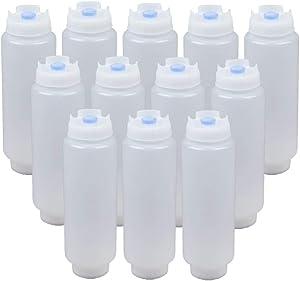 FIFO Squeeze Bottle Refillable 16 oz Blue Tip (12 Pack)