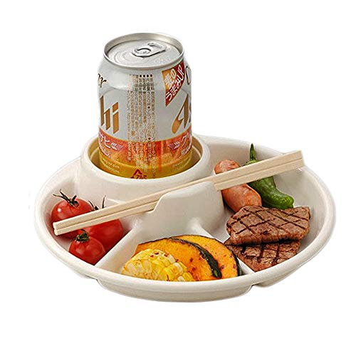 - inomata 3-Compartment plate beer, drink,Cup holder total 4 Section, BBQ, Party, Picnic D:8.2in, H:1.8in 2 pack