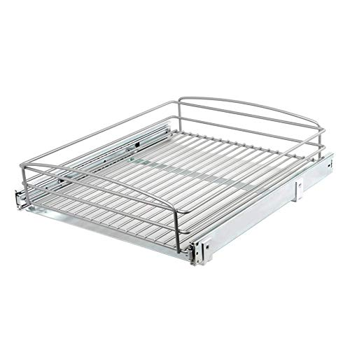 Knape & Vogt 5 in. H x 18 in. W 20 in. D Multi-Use Pull-Out Basket Cabinet Organizer - Frosted Nickel, -