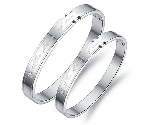 Binghang Custom His and Hers Bracelet Stainless Steel Cuff Bracelets for Couples Lovers by Binghang