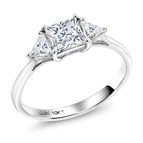 (Gem Stone King 10K White Gold Solitaire w- Accent Stones Ring Timeless Brilliant (IJK) Princess 1.12ct (DEW) Created Moissanite (Size 8))