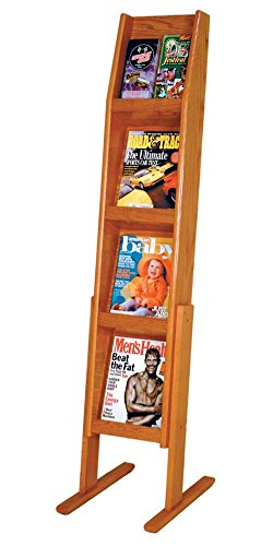 Wooden Mallet Slope 8 Pocket Standing Literature Display 4Hx2W 8, Medium Oak