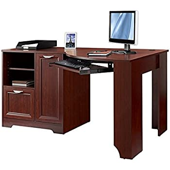 Realspace magellan collection corner desk classic cherry office products - Corner desks small spaces collection ...