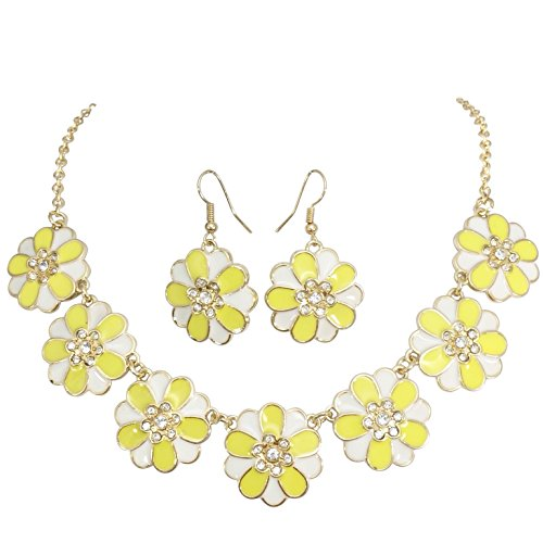 7 Daisy Flower with Rhinestones Cluster Gold Tone Boutique Statement Necklace & Earrings Set (Yellow & White) (White Daisy Earrings)