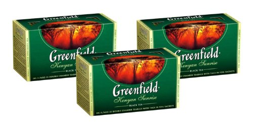 Greenfield Black Tea Collection - Kenyan Sunrise (25 Count Tea Bags) [Pack of 3]