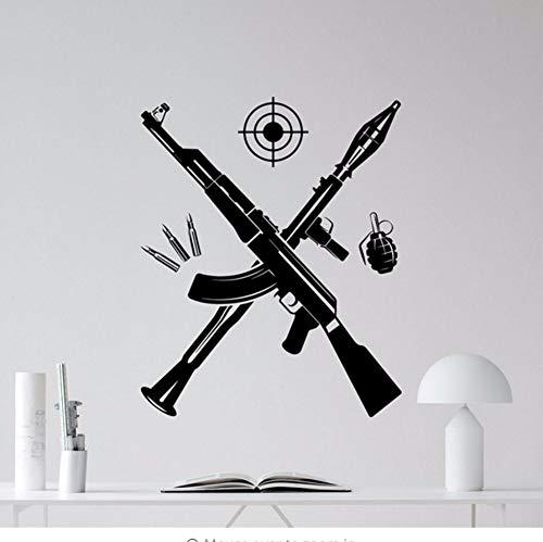 liubeiniubi 2019 Wall Sticker Stickers Bazooka Kalashnikov Assault Rifle Grenade Wall Vinyl Decal Military Decor Art Kids Boy Room Sticker 58x72cm