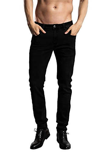 ZADDIC Skinny Fit Jeans Men's Younger-Looking Fashionable colorful Super Comfy Stretch Slim Fit Tapered Jeans Pants. (32, Black)
