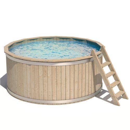 ISIDOR Pool Holzpool Schwimmbecken Swimmingpool Rundpool 240x107cm