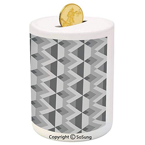 Grey Decor Ceramic Piggy Bank,Triangles with Parallel Lines in Dark and Light Retro Minimalist Pattern Artwork 3D Printed Ceramic Coin Bank Money Box for Kids & Adults,Ash Shadow