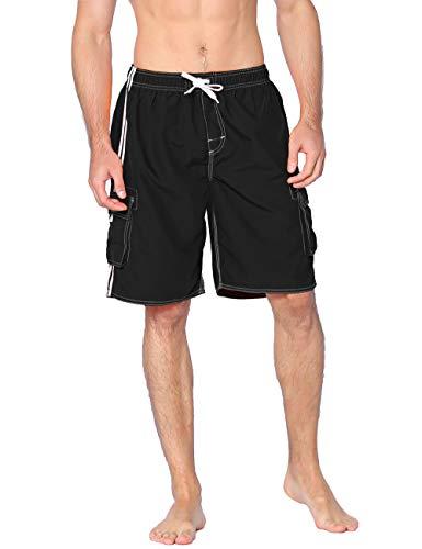 Unitop Men's Classic Quick Dry Swim Trunks with Linning Black -