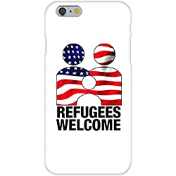 Apple iPhone 6+ (Plus) Custom Case White Plastic Snap On - Refugees Welcome Anti Trump