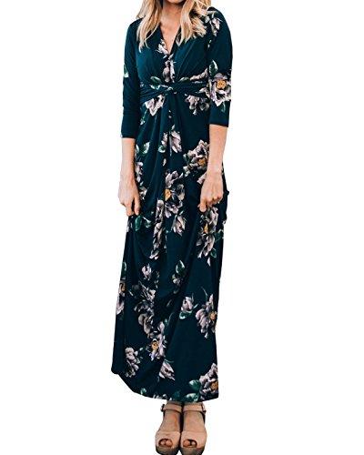 3/4 Sleeve Twist - CNJFJ Womens Floral Printed Twist Knot Maxi Dress 3/4 Sleeve V Neck Floor Length Dresses