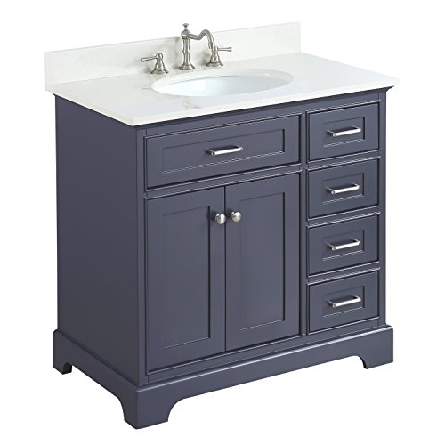 (Aria 36-inch Bathroom Vanity (Quartz/Charcoal Gray): Includes a Charcoal Gray Cabinet with Soft Close Drawers, White Quartz Countertop, and White Ceramic Sink)