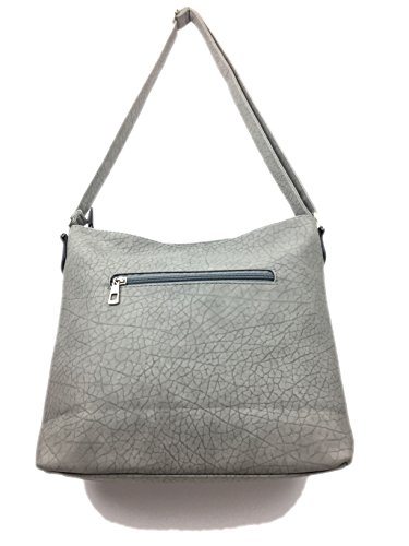 Nu amp; toggles faux embossed bag Buck durable stitching and matching Bag crossbody with Styled Designer Ladies Leather zip Handbags Grey for women soft DULCIE Shoulder very bag messenger Italian trendy xUfFTaBnq