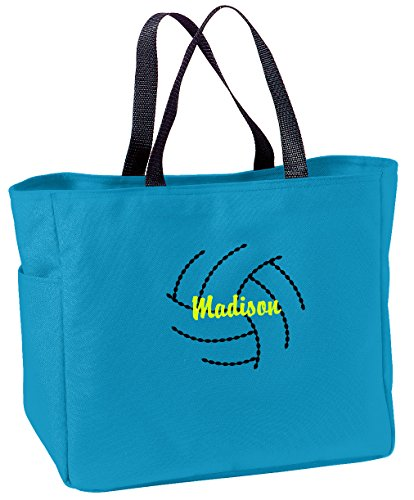 All about me company Personalized Embroidered Volleyball Sport Essential Tote Bag (Turquoise) ()