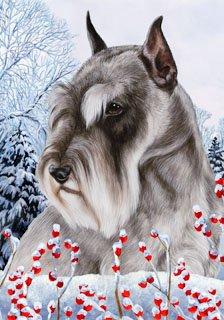 Schnauzer Cropped by Tamara Burnett Winter Berries Garden Dog Breed Flag 12'' x 18