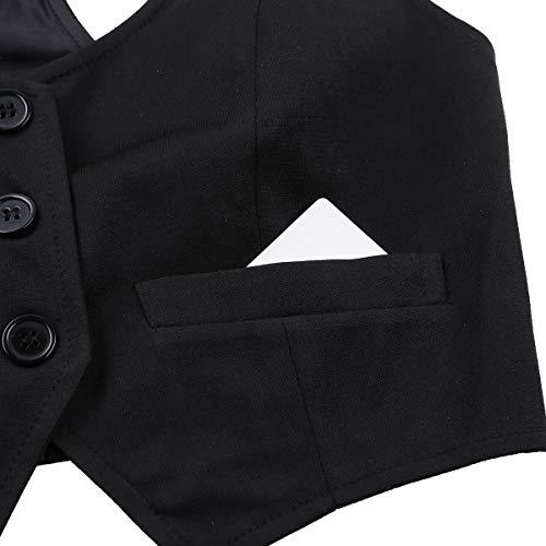Otoño Formal V Ocasionales Ajustado Freebily de Chaleco Negro En Las Botón Mang Sin Mujeres Abajo Outwear Cuello Corto Chaleco ATttZHwqn