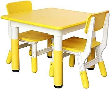 Juego de mesa y silla para niños y niños Juego de plástico para actividades de aprendizaje y entretenimiento Silla de color portátil/Amarillo/Mesa dos sillas: Amazon.es: Bricolaje y herramientas