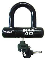 Trimax MAX40BK Motorcycle Disc U-Lock - Black with Black PVC Shackle