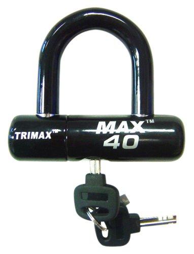 Trimax MAX40BK Motorcycle Disc U-Lock - Black with Black PVC Shackle