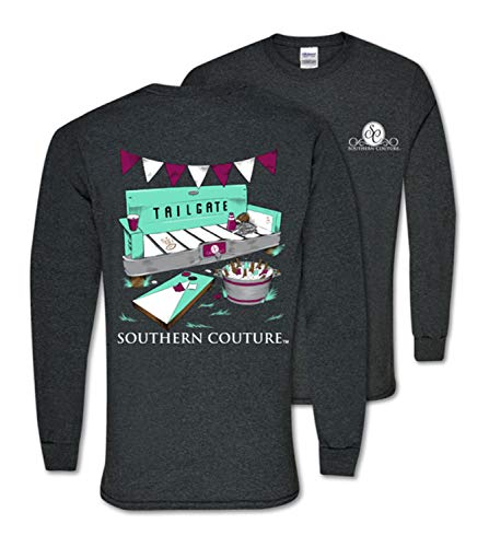 Southern Couture Classic Long Sleeve Fit Tailgate Adult T-Shirt Dark Heather XX-Large -
