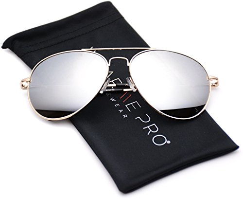 Aviator Full Silver Mirror Metal Frame Sunglasses (Golden Frame / Mirror Silver Lens, - Aviator Sunglasses Golden