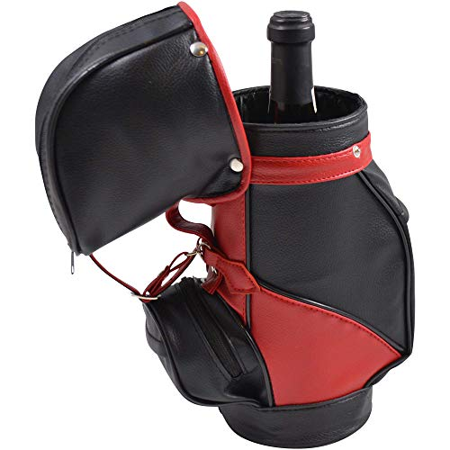Primeware Caddy Golf Bag | Single Bottle Wine Carrier | Made with Faux Leather (Black)