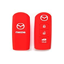 Red Silicone Protective key Holder Protector Bag Key Cover Key Jacket Key Case Cover Fob Skin Key Holder for Mazda Cx-5 Cx-7 Cx-9 Mazda 3 5 6 (Red)