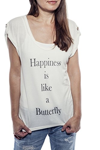Ella Manue Women V-Neck Shirt Camiseta para Mujer Happiness is like a Butterfly White