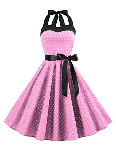 Women's Vintage Polka Dot Halter Dress 1950s Retro Cocktail Swing Tea Dresses