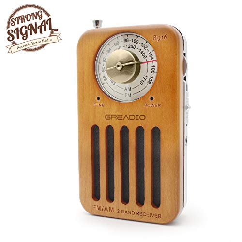 - AM/FM Portable Radio, Pocket Retro Cherry Wood Radio with Headphone Jack, Best Reception, Battery Operated Personal Transistor by 2 AA Battery for Travelling, Jogging and Walking