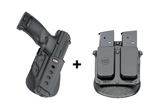 Fobus Concealed Carry Rotating ROTO Paddle Holster + 6900 Double Magazine Pouch for Hi Point .45 Polymer Ruger SR45, P95, P94