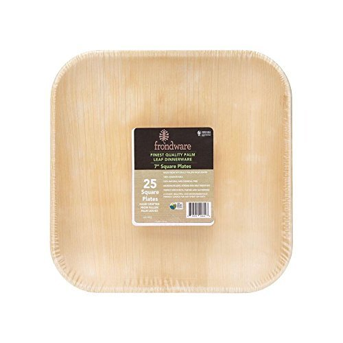 ural Palm Leaf Square Disposable Plates - Set of 25 - Elegant Wedding Dinnerware - Heavy Duty, Sturdy Party Plates - Compostable - Biodegradable - USDA Certified Biobased Product ()