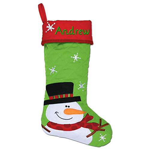 Personalized Stephen Joseph Gifts Christmas Stocking, Snowman Santa Quilted Stocking