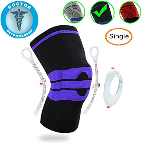 Professional Knee Brace Compression Sleeve - Best Knee Pads Knee Braces for Men Women, Medical Grade Knee Sleeves Support for Meniscus Tear, Arthritis, Joint Pain Relief, Injury Recovery. Single (Support Gel Knee)