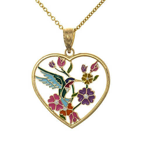 Stained Glass Heart Pendant (14k Yellow Gold Hummingbird Heart Charm Pendant Necklace with Chain, Stained Glass with Enamel)