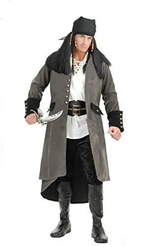 Sultan Costume Plus Size (OvedcRay Adult Colonial Pirate Captain Suede Costume Coat Jacket Treasure Island Grey)