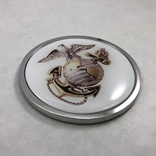 BestLicensePlateFrames US Marine Corps USMC 3D Domed CAR Emblem Badge Sticker Chrome Metal Round Bezel